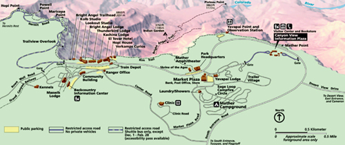 Our National Parks » Grand Canyon Village South Rim map