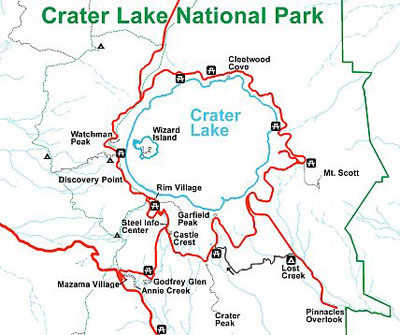 The Road Around The Rim Of The Lake Is Frequently Travelled By Visitors Map Courtesy Of The National Park Service